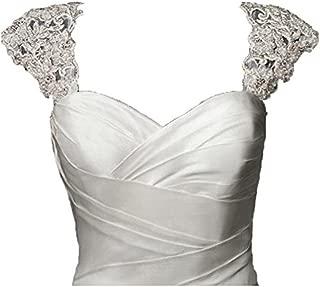 Exquisite Crystal Beaded Detachable Cap Sleeve Lace Wedding Dress Bolero Jacket