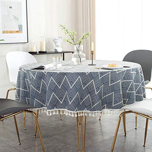 Kuingbhn Mantel Mesa Rectangular Antimanchas Cubremesa Simple Solid Color Tassel para de Hogar Picnic del Hotel Tienda de Café Blue 130cm Circle Diameter