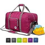 Faltbare Reisetasche 60-100L Superleichte Reisetasche für Gepäck Sport Fitness Wasserdichtes Nylon von WANDF (Rosa, 60L)