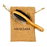 Harzara Eco-Friendly Pet Brush for Dogs & Cats. Professional, Double Sided Pin & Bristle for Short, Medium or Long Hair. Bamboo Grooming Comb Cleans Pet Shedding & Dirt Plus Smoothes Coat.