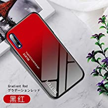 XiaoMinDian Compatible With Huawei Honor 9X Case, 9H Gradient Color Tempered Glass Case Back Cover, Scratch Resistant Soft Silicone Bumper Case Anti-skid Cover (Color : Gradient Red)