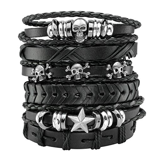 EIGSO 6 Pcs Leather Bracelet Black Braided Wide Wristband Women Men Punk Jewelry Skull