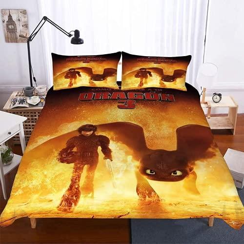 ZJJIAM Ropa de cama infantil con diseño de dragón en 3D, para noche malvada y animación, funda nórdica doble (1,140 x 210 cm + (80 x 80 cm)