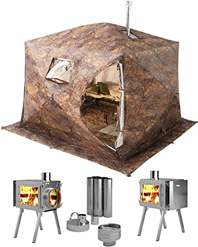 Russian-Bear Hot Tent with Stove Pipe Vent. Hunting Fishing Outfitter Tent with Wood Stove. 4 Season Tent. Expedition Arctic Living Warm Tent. Fishermen, Hunters and Outdoor Enthusiasts! 4 Person Kit