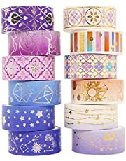 12 Rolls Washi Tape Gold Foil Decorative Flor Vsco Washi Masking Tape Set for DIY Crafts, Scrapbook, Planner, Journal Supplies, Card/Gift Wrapping and Art (15mm/3m, Starry Night))