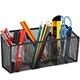 Magnetic Pencil Holder, VICNOVA Metal Magnetic Pen Holder with Extra Strong Magnets/3 Generous Compartments, Magnetic Storage Basket Organizer to Hold Whiteboard Refrigerator Locker Accessories