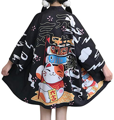 LAI MENG Damen Lose Kimono mit Drache Stickerei & Tierdruck 3/4 Arm Cover up Leichte Jacke EU 34-46