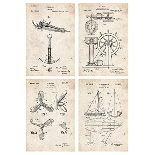 Nacnic Set de Laminas de Patentes de Barcos. 250 gr A4 Size - Vintage