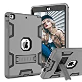 TOPSKY Case Compatible with iPad Air/A1474/A1475/A1476 9.7 inch, Shockproof Built in Kickstand Protective Cover Cases for iPad A1474/A1475/A1476,Grey Black