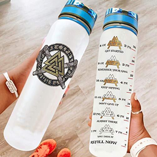 Niersensea Botella de agua deportiva vikinga con hacha de Valknut sin BPA, Tritan, botella de agua ligera con marcador de tiempo para viajes, camping, deportes al aire libre, color blanco, 1000 ml