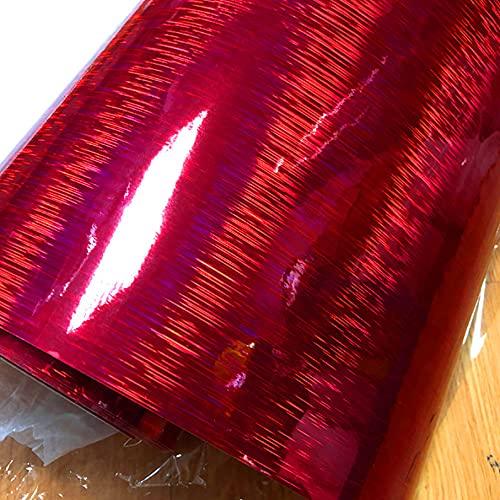 YFJCL Alto Rendimiento Etiqueta engomada de Envoltorio de Vinilo con Cepillado con Cepillado de carbón Rojo Brillante Brillante para Coche DIY Pegatina (Color Name : Red, Size : 50CM X 200CM)