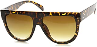 Large Oversized Flat Top Teardrop Frame Aviator Sunglasses (Dark-Tortoise)