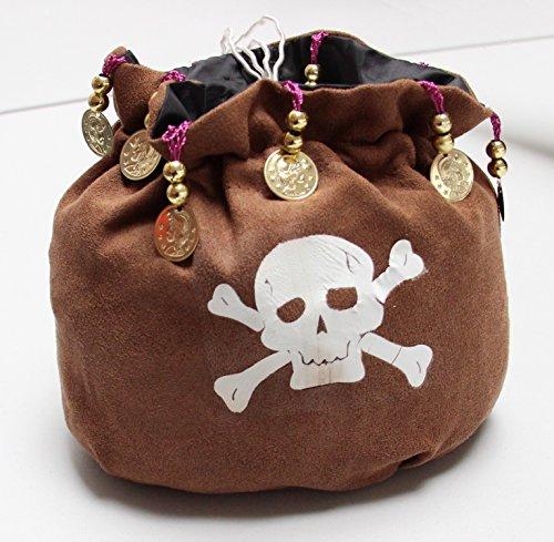 Foxxeo Piratenbeutel mit Perlen und Goldmünzen Tasche zum Piraten Kostüm