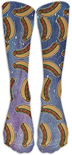 Lsjuee Ketchup Hot Dog Calcetines hasta la rodilla para mujer Medias largas de disfraz para deportes Escuadrn de animadores Cosplay