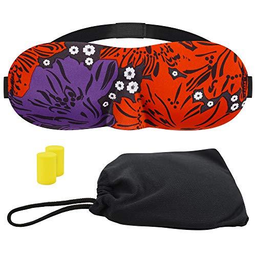 3D Augenmaske Schlafmaske (Schuhblume violett, mit Ohrstöpseln und Tasche, 4 Stück)