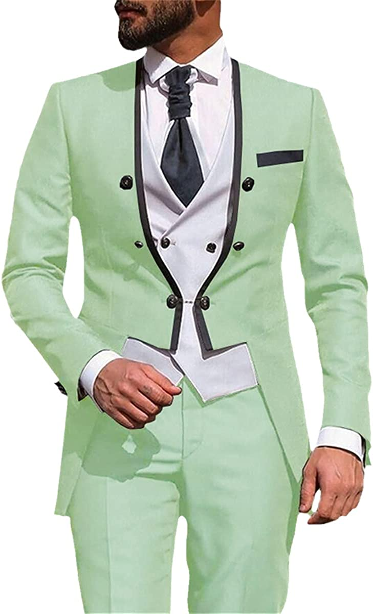 Men's Elegant Wedding Party Set Solid Color Slim 3-Piece Groom Groomsman Tuxedo