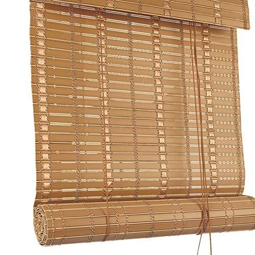 CAIJUN Bambusrollo Raffrollo PVC-Material Wasserdicht Brandschutz Sonnenschutz Draussen Partition Vorhang, 4 Stile, Benutzerdefinierte Größe (Farbe : C, größe : 140x225cm)