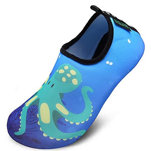 Zapatos de Agua niño Bebe Zapatos de Natación Descalzo Aqua Calcetines Piscina Playa Césped Parque acuático Vacacionado en Varias,Pulpo Azul,28/29