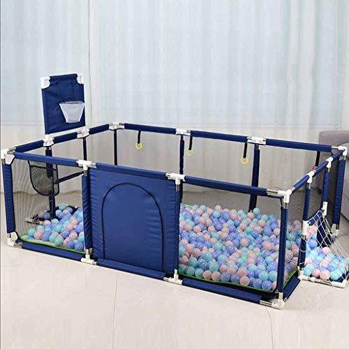 Corralito Parque Infantil Grande para bebés pequeños para Camas gemelas, Patio de Juegos de Seguridad con colchoneta y aro de Baloncesto, Extra Alto 66 cm, Rojo/Azul