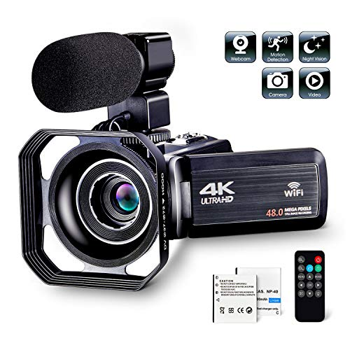 """4K Camcorder Vlogging Camera for YouTube Ultra HD 4K 48MP Video Camera with Microphone & Remote Control WiFi Digital Camera IR Night Vision 3.0"""" IPS Touch Screen"""