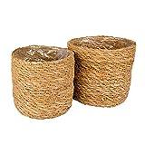 Gina Da - Juego de 2 maceteros redondos con forma de cesta, marrón