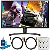 LG 32UK550-B 32-inch 4K UHD LED Monitor (3840 x 2160) (16:9) Bundle with 2X Deco Gear 4K HDMI 2.0 Cable, Beach Camera Screen Cleaner and 6-Outlet Surge Adapter with Night Light