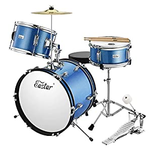 Eastar 16 inch 3 Piece Kids Junior Drum Set Kit with Throne, Cymbal, Pedal & Drumsticks, Metallic Blue (EDS-280Bu)
