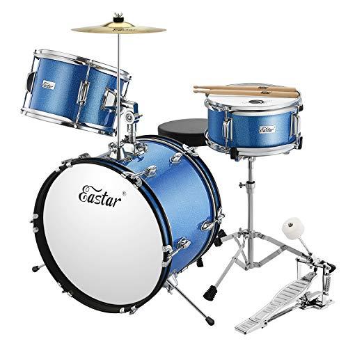 Eastar Schlagzeug Komplettset Kinder 3-teiliges Junior Drum Set 16 Zoll/40.6 cm EDS-280Bu mit Thron, Becken, Pedal und Drumsticks, Metallisch Blau