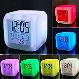 GIAPANO Alarme LED Colock 7 couleurs - Thermomètre numérique - Cube de nuit lumineux - Décoration de maison - Photo de gros chiens et chiens blancs à revêtement court sur surface blanche