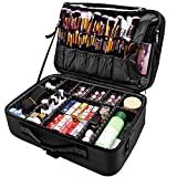 joyroom Large Makeup Bag 3 Layers Professional Travel Cosmetic Bag Makeup Organizer Case 15.7 inches Portable Artist Storage Brush Box with Adjustable Dividers and Strap for Makeup Accessories Black