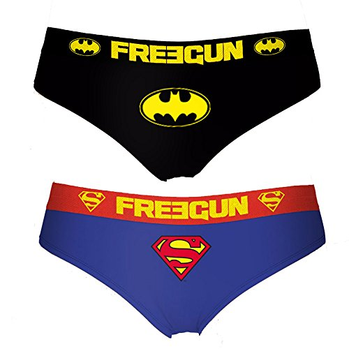 FREEGUN Damen Hipster Baumwolle Pack of 2 DC Comics Batman-Superman (M)