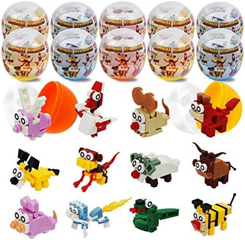 JOYIN 12 Pcs Pre Filled Easter Eggs with Animal Building Blocks for Kids Gift Easter Eggs Hunt product image