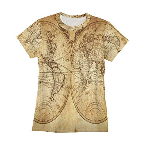 Womens T Shirts Vintage Retro World Map Short Sleeve Tee Shirts CrewNeck Casual Top Tshirt Big Girls