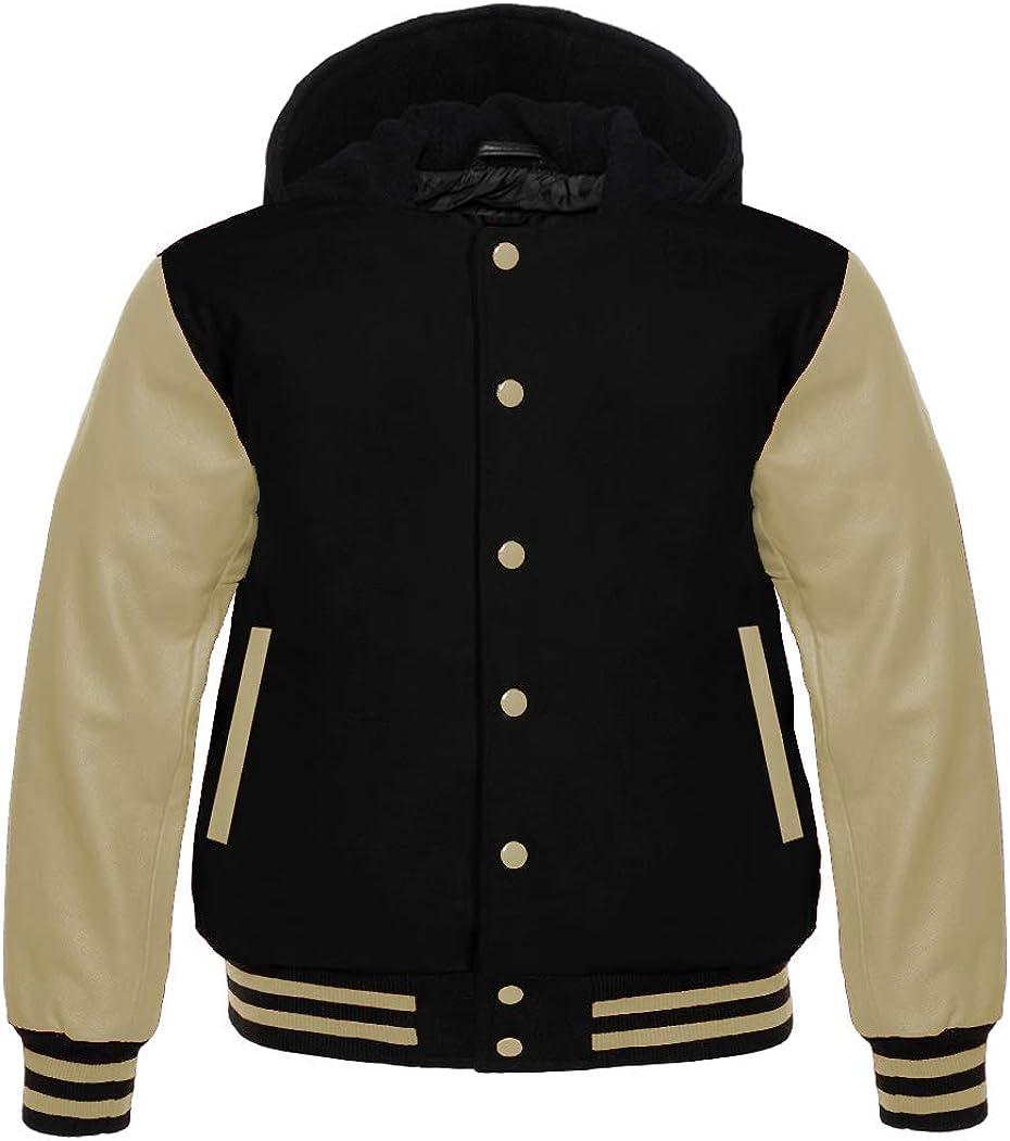 Apex Ltd Mens Varsity Jacket Hoodie Cowhide Leather Arms and Wool Letterman College Top Coat