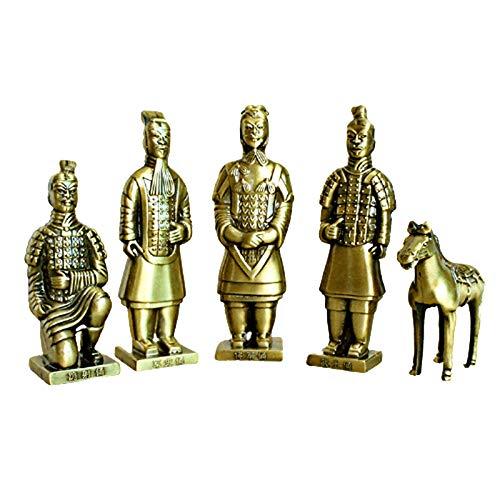 JFF Altes Traditionelles Set Terrakotta-Krieger-Statuen, Zinklegierungsverfahren, Handgemachtes Handwerk Kreative Heim- Und Küchendekoration, 5 Stück