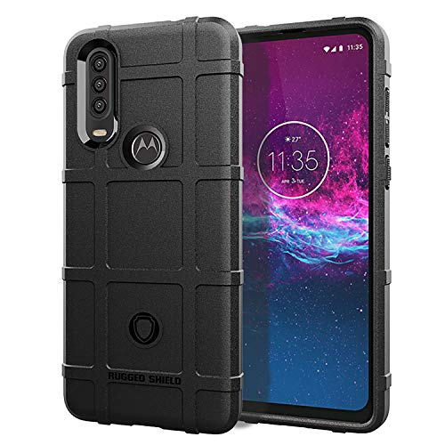 LiXiongBao Case for Motorola Moto One Action Case Black Armor Rugged Shield Hybrid Cover [Anti-Fingerprint, Shockproof,Textured] Rubber case Cover for Moto One Action