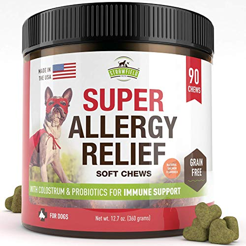 Strawfield Pets Dog Allergy Relief Chews - 90 Grain Free Treats, Anti Itch Relief for Dogs, Colostrum, Turmeric, Probiotics, Salmon Fish Oil for Itchy Dog Skin, Allergies, Hot Spots Treatment, USA