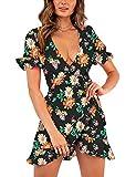 Relipop Women's Dresses Floral Print Deep V-Neck Short Bell Sleeve Ruffle Wrap Tie Knot Fishtail Short Dress (T5, Small)