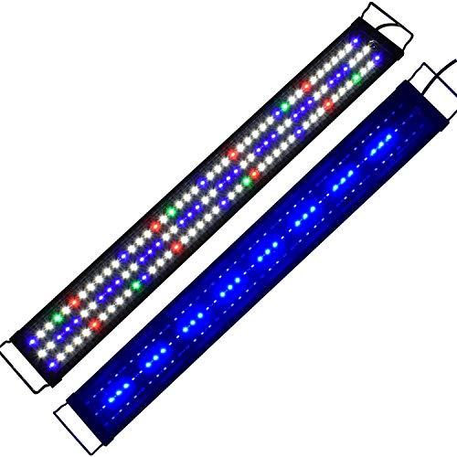 KZKR Upgraded Aquarium LED Light Full Spectrum 36-48 inch Hood Lamp for Freshwater Marine Plant Multi-Color Decorations Light 90-120 cm