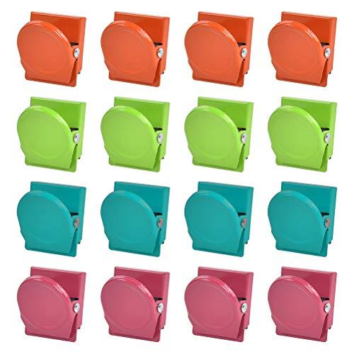YASHON Clip Magnetiche in Metallo 16 Pezzi Clip di Metallo Magnetico Multicolore Calamite Clips per Lavagna Clip Frigorifero Metallic Clips per Casa, Scuola e Ufficio - 4 Colori -