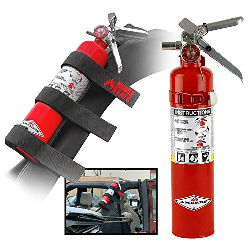 Amerex B417T Dry Chemical 2.5 Pounds lbs Fire Extinguisher with Vehicle Bracket and Mobile Deals Adjustable Roll Bar Holder Mount compatible with Jeep Wrangler Unlimited, CJ, JK, TJ - Durable Strap