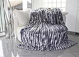 Manta de ambos lados en imitación de piel, color gris. Calidad fino, suave, exclusivo, lujoso. Manta suave y comfortable. 150 x 200 cm.