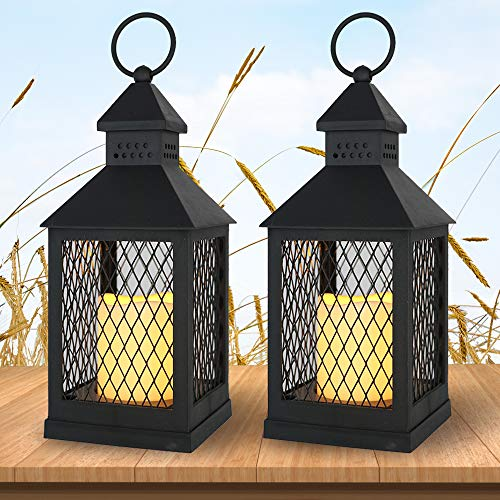 "Wondise Flameless Decorative Candle Lantern Battery Operated with Timer, 11"" Hanging Lantern with Flickering Waterproof LED Pillar Candle for Indoor Outdoor Home Garden Decoration(Black, Set of 2)"