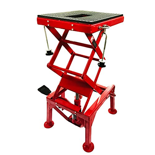 Roadstar 300LBS Hydraulic Motorcycle Scissor Floor Lift Jack Maintenance Repair Tools with The Foot Peg Hold Downs Fit for Motorbike Dirt Bike Hydraulic Center Stand Lift