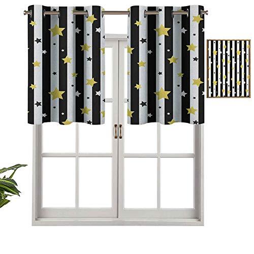 Hiiiman Cortina moderna para ventana, cenefa de Navidad, cumpleaños, estrellas, temática de rayas, telón de fondo, juego de 2, 106,7 x 60,9 cm, decoración del hogar, paneles opacos para sala de estar