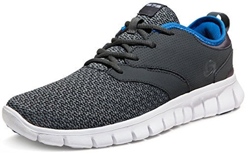 TSLA Men's Boost Running Walking Sneakers Performance Shoes, Lightweight Flex(x574) - Dark Grey &...