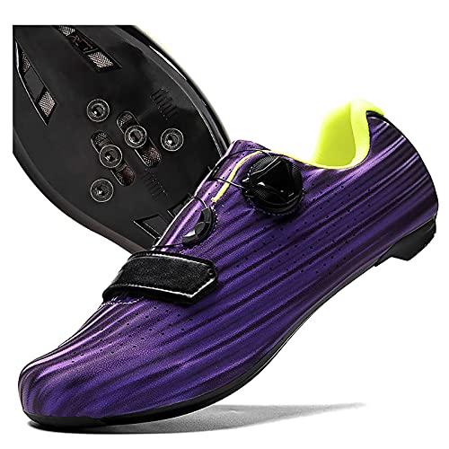 DSMGLRBGZ Zapatillas MTB Hombre, 36-46 Respirable, con Calas para Niño Niña Mujer Zapatillas Bicicleta de Carretera, Mantente Cómodo Todo el Día,Púrpura,41
