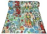 Majisacraft Frida Kahlo Mexikanischer Kantha-Steppdecke, indisch, handgefertigt, Grün, Doppelbett-Überwurf, Tagesdecke