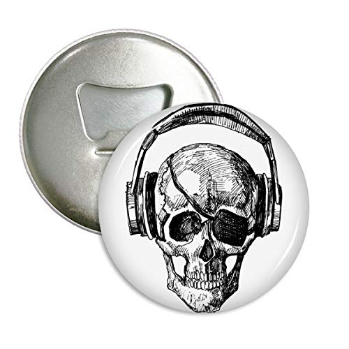 DIYthinker Schädel-Kopfhörer Musik Verrücktes Muster rund Flaschenöffner Kühlschrank Magnet Pins Abzeichen-Knopf-Geschenk 3pcs Silber