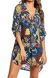 Davicher Cubre bikini mujer traje de baño camisa estampado leopardo camisa bluse cover up V vestido de playa playa playa pareo cubre túnica playa bikini Cover Up, Azul real., L